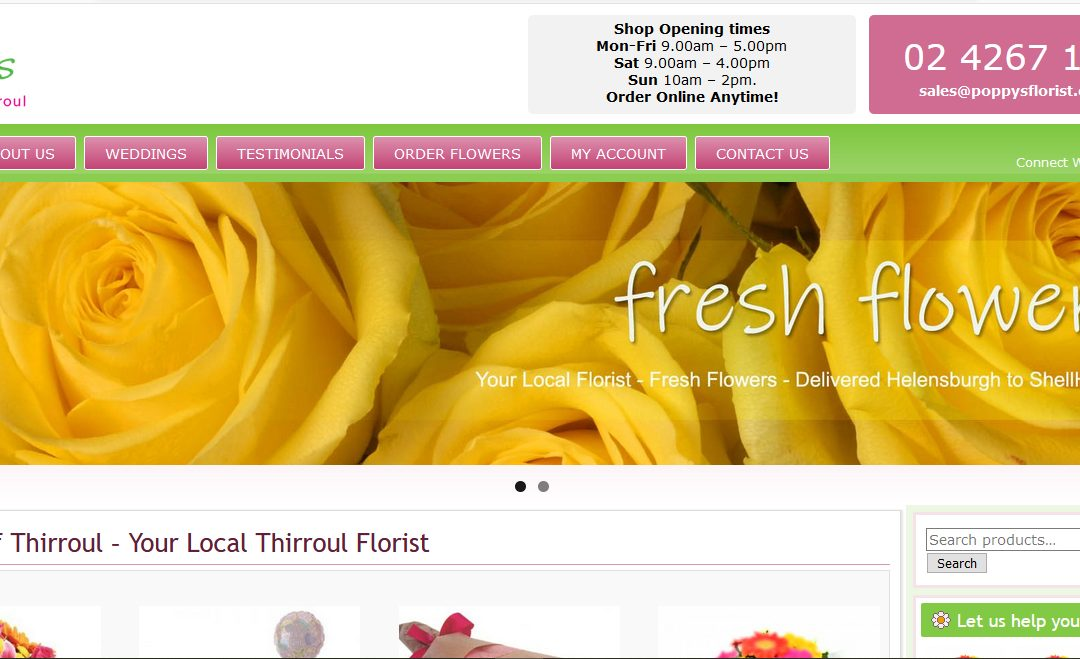Website + e-commerce – Poppys Florist